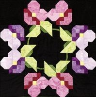 """Pansies Block 6 from Out Of The Darkness/A New Beginning Block-Of-The-Month by Pam Bono - 18"""" finished"""