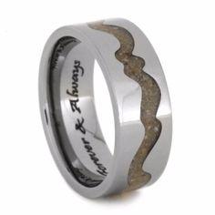 Engraved Titanium Memorial Ring with Pet Ashes, Pet Memorial Ring with Wavy Design, Custom Made To Order Meteorite Ring, Titanium Rings, Dog Shadow Box, Pet Memorial Jewelry, Pet Ashes, Ring Verlobung, Pet Memorials, Animal Jewelry, Gold