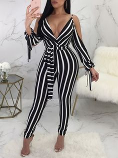 Low Cut Striped Open Shoulder Tied Skinny Jumpsuit - Fashion Able Backless Jumpsuit, Jumpsuit Outfit, Jumpsuit With Sleeves, Black Jumpsuit, Elegant Jumpsuit, Bodycon Jumpsuit, Denim Jumpsuit, Ladies Jumpsuit, Black And White Jumpsuits
