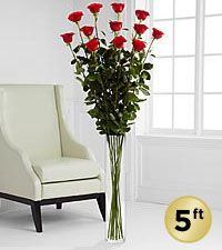 The Ultimate Rose Bouquet - 12 Stems, 5 Foot Roses - VASE INCLUDED