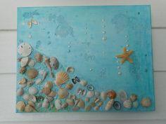 Hecho a mano lienzo enmarcado mar shell / playa por alamocrafter