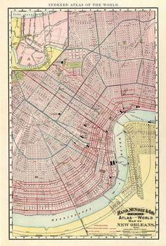 The map of New Orleans from 1896 - print.