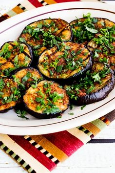 Looking for something to cook up on the grill? Here is Art & Home's list of 43 of the Best Summer BBQ Recipes, including this Spicy Grilled Eggplant with Red Pepper, Parsley, and Mint recipe. Vegetarian Eggplant Recipes, Vegan Eggplant Recipes, Vegan Recipes, Vegetarian Chicken, Meatless Recipes, Vegetarian Dinners, Fast Recipes, Healthy Dinners, Soup Recipes