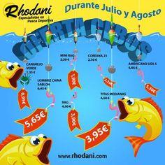 ¡No olvides tu cebo para pescar este verano! Durante Julio y Agosto tus cebos frescos con descuentos frescos en nuestra web, tienda o en tu punto de venta Rhodani de confianza. ¡Buena pesca!