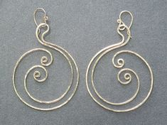Hammered spiral circle earrings Nouveau 104 by CalicoJunoJewelry