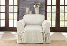 Sure Fit Slipcovers Ticking Stripe One Piece Slipcovers - Chair
