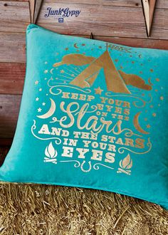 #junkgypsy4pbteen - Junk Gypsy Keep Your Eyes On The Stars Pillow Cover