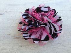 Pink Zebra Flower Hair Clip