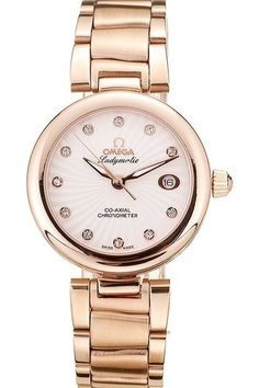 Replica Omega DeVille Ladymatic Rose Gold Bezel White Dial Watch with Rose Gold Stainless Steel Bracelet