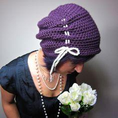 The Victorian Slouch Hat in Purple - Womens Crochet Hat. $20.00, via Etsy.