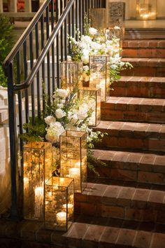 glowing lantern lit stairs