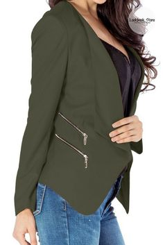 Fall Style // Look smart and sharp at work or school by wearing this cool army green draped blazer. Shop it here.