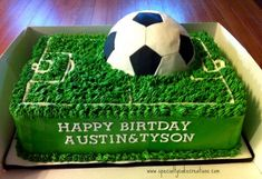 Soccer field and ball cake