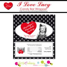 I Love Lucy Party Candy Bar Wrappers   PRINTABLE  by whittlewhimsy, $8.00