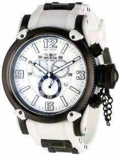 Invicta Men's 11366 Russian Diver Chronograph Mother-Of-Pearl and White Dial White Polyurethane Watch Invicta. $189.04. Chronograph functions with 60 second, 30 minute and day of the week subdials; date window at 4:00. Flame-fusion crystal; black ion-plated stainless steel case with white accents; white polyurethane strap with black ion-plated stainless steel barrel inserts. Swiss quartz movement. Water-resistant to 100 M (330 feet). Mother of pearl and white dial with b...