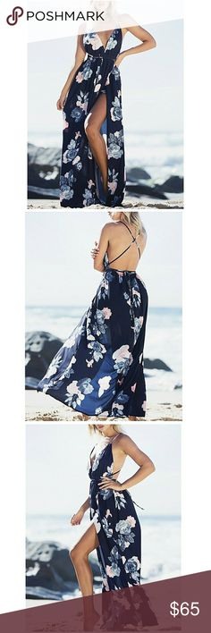 NEW! Backless Floral Maxi Dress Brand new and unworn! Comes in original packaging or has original tag!  Available in sizes S M L!  Size recommendations:  Small for sizes 0/2 Medium for sizes 4/6 Large for sizes 8/10  *All offers will only be considered through the offer button!* Discounts available on bundles!  Not Lulu's brand! Only used for exposure. :) Lulu's Dresses Maxi