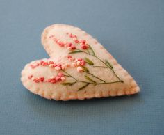 Handmade, ribbon embroidery,brooch - heart with floral details - coral and pale pink