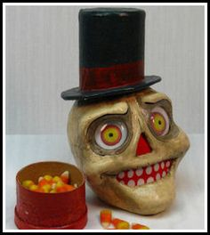 SpookyTimeJingles | Where Sweet and Spooky Commingle   Vintage inspired skeleton candy container luminare  $75.00