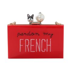 Pardon my french clutch in red by Cecelia Ma