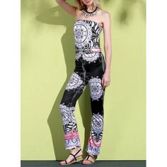 Stylish Strapless Sleeveless Loose-Fitting Printed Women's Exuma Preppy Jumpsuit
