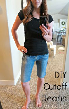 Turn your old, flare style jeans into new, cute denim shorts in just two easy steps!  Cut & stitch!  #refashion #denim {SweetCharli}