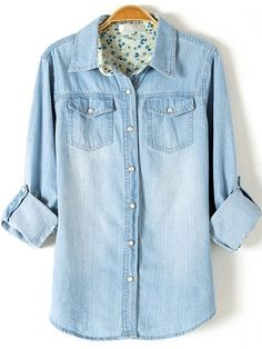 20$  Buy here - http://diiwv.justgood.pw/go.php?t=538 - Light Blue Lapel Long Sleeve Boyfriend Trends Jean Swish Bleached Denim Blouse