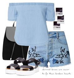 """""""Double Denim"""" by colorful-jovana ❤ liked on Polyvore featuring MANGO, Polaroid, 3x1, StreetStyle, denim and BlackandDenim"""