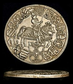 Tyrolean thaler of the Archduke Maximilian of Tyrol and its milled edge. This thaler is known as a thaler of the Teutonic Order, with the Master Maximilian Tyrol. The coin has typical signs of cutting on the edge. Defender Of The Faith, Crusader Knight, Archduke, Gold And Silver Coins, Old Coins, Signet Ring, Archaeology, Medieval, Money Bank