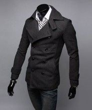 Gray Collar Double Breasted Woolen Jacket