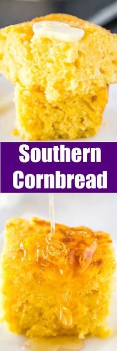 Southern Style Cornbread - A simple cornbread recipe that is so much better than any box mix. This is a classic Southern recipe so it is light a little bit crumbly with crispy buttery delicious edges! Southern Cornbread Recipe, Sweet Cornbread, Southern Recipes, Southern Food, Side Dish Recipes, Dinner Recipes, Beef Recipes, Cooking Recipes, Healthy Recipes