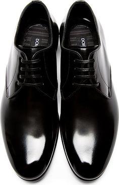 Dolce & Gabbana: Black Buffed Leather Classic Derbys