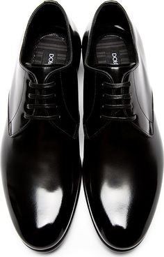 Dolce & Gabbana: Black Buffed Leather Classic Derbys