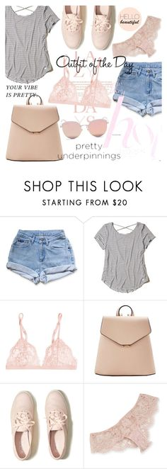 """""""The Prettiest Underpinnings"""" by orietta-rose ❤ liked on Polyvore featuring Lazy Days, Levi's, Hollister Co., La Perla, MANGO, I.D. SARRIERI, Stephane + Christian, Petit Bateau, womensFashion and prettyunderpinnings"""