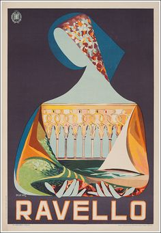 Vintage Italian Posters ~ 1950 Ravello seaside resort, Italy vintage travel poster