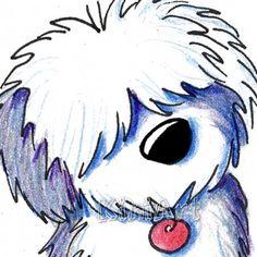 ORIGINAL Art Old English Sheepdog Dog Breed ACEO by KiniArt, $40.00