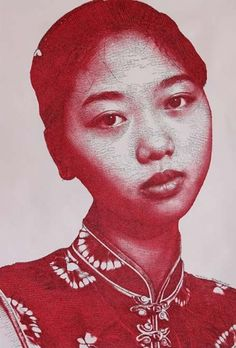 by Wei Ping | Seen at the Asian Contemporary Art Show | Print available | Silk screen print | Portrait | Young Chinese Girl | Shanghai Style | Red print | Art lover and Art Collector | Online Art gallery | Shop artwork online | Chinese Contemporary Art | Asian Contemporary Art