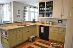 Tutorial for painting kitchen cabinets with chalk paint.