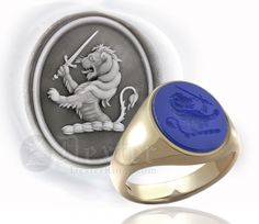 Blue Agate Set Ring - Engraved with a Lion Rampant