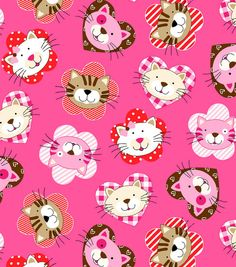 "Snuggle Flannel Fabric - ""Cat Hearts."""