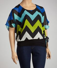 Take a look at this Spin Blue Zigzag Tunic - Plus on zulily today!