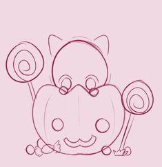 animated by mishiiemoo on DeviantArt Art Drawings Sketches, Disney Drawings, Easy Drawings, Chibi Poses, Chibi Sketch, Sketches Tutorial, Drawing Expressions, Halloween Drawings, Art Base