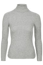 PETITE Long Sleeve Ribbed Polo Neck Top