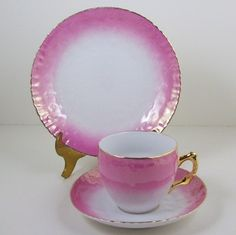Antique Vintage Tea Cup with Saucer Plate Trio Embossed Pink and Gold 3 Pce | eBay