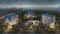 An aerial night view rendering of the Abrahamic Family House to be located on Saadiyat Island in Abu Dhabi. Sir David Adjaye, designer of the National Museum of African American HIstory and Culture, has been awarded the commission for the project. The facility will serve as a tripartite worship space — to include a Catholic church, a synagogue and a mosque — in the heart of the conflict-ridden Middle East...