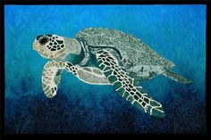 Discover one of the largest sea turtles in the world. Golf Quilt, Sea Turtle Quilts, Largest Sea Turtle, Ocean Quilt, Hawaiian Sea Turtle, International Quilt Festival, Hawaiian Quilts, Quilt Border, Animal Quilts