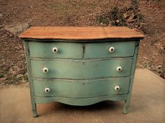 blue green dresser - painted furniture