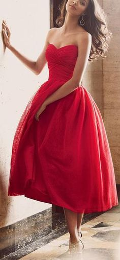 Elegant Strapless Sweetheart Midi Red Cocktail Dress Vintage Tulle Wedding Party Formal Gown, cheap prom dress
