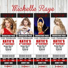 Printable Taylor Swift Birthday Party Invitations tickets Concert Backstage pass ticket