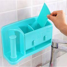 Aliexpress.com: Comprar Self adhesive kitchen caja de almacenamiento organizador plástico soporte de la bolsa colgando de almacenamiento de baño estante de la pared de estante del supermercado fiable proveedores en Ming Qing Technology Co., Ltd.