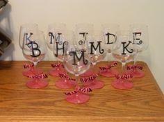 DIY Painted Wine Glasses - party favors @Paulette Studards Baker